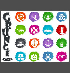coast guard icons set vector image