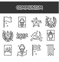 Communism cartoon concept icons vector