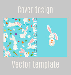 Cover design with white rabbits pattern vector