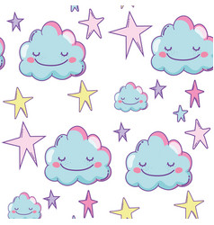 cute clouds background vector image