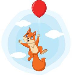 cute squirrel cartoon flying with balloon vector image