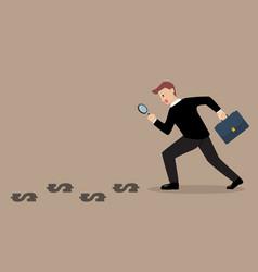 Detective businessman finding money vector