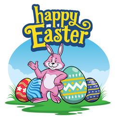 easter rabbit with painted colorful of easter eggs vector image