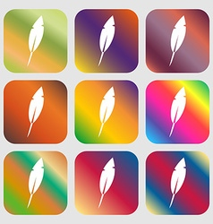 Feather sign icon Retro pen symbo Nine buttons vector