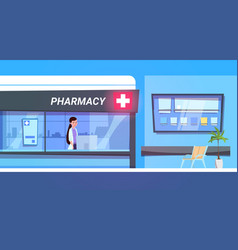 female doctor in pharmacy store in modern hospital vector image