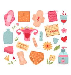 Female hygiene menstruation tools women sanitary vector