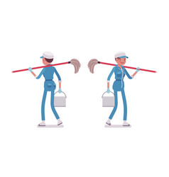 Female janitor walking rear and front view vector
