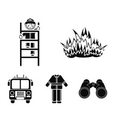 Flame fireman on the stairs uniform fire truck vector