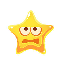 Frightened face of yellow star cartoon character vector