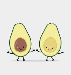 Funny avocado couple holding hands vector