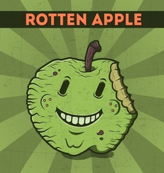 Funny cartoon malicious green monster apple vector image