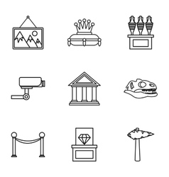 Gallery in museum icons set outline style vector image