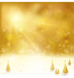 golden christmas background with christmas vector image