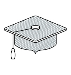 Gray silhouette of graduation cap with striped vector