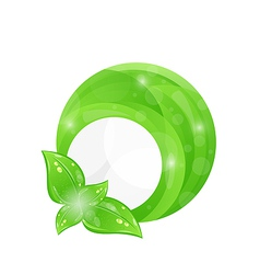 Green round frame with leaf elements eco vector image
