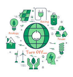 Green turn light off concept vector