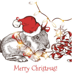 Greeting card with cute hare in santa hat vector