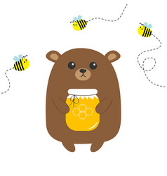 Grizzly brown bear holding honey jar with vector