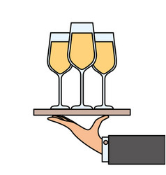 hand holding tray with champagne wine glasses vector image