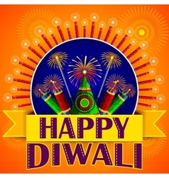 Happy diwali background with colorful firecracker vector