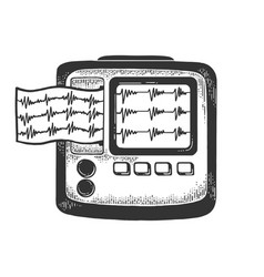 Holter monitor cardiac monitoring sketch vector