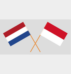 Indonesian and netherlandish flags vector