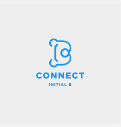 initial b connection logo design technology vector image