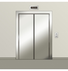 Iron elevator with closed doors vector