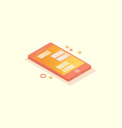 Isometric phone with chat on screen vector