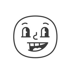 Joyful smile fase black and white emoji eps 10 vector