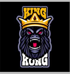 King kong gorilla head mascot logo vector