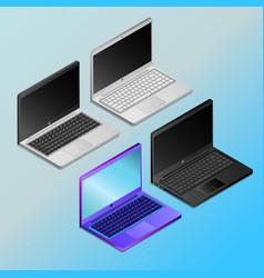Laptops with empty screens in isometry vector