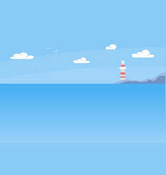 lighthouse tower standing on rocky seashore summer vector image