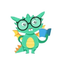 Little Anime Style Smart Bookworm Baby Dragon vector image