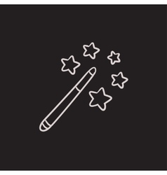 Magic wand sketch icon vector image