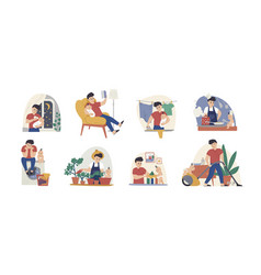 man at maternity leave flat vector image