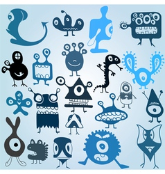 many cute doodle monsters vector image