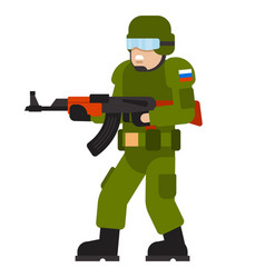 Military man russian armed force wearing army vector