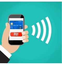 Mobile Payments Man holding phone vector image