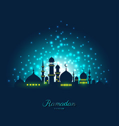 mosque silhouette in night sky and light vector image