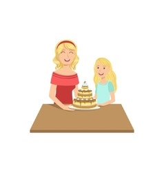 Mother and child having cake together vector