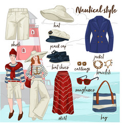 nautical clothes and fashion style for men women vector image