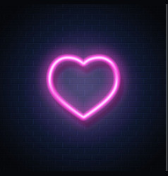 Neon heart icon sign vector