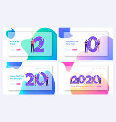 new year 2020 celebration website landing page set vector image