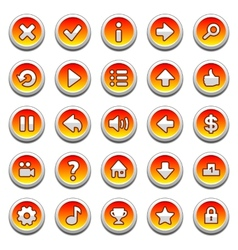 Orange round game menu buttons vector image