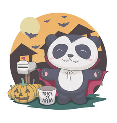 panda dracula in night halloween bat mailbox vector image