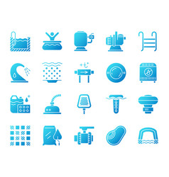 pool equipment simple gradient icons set vector image