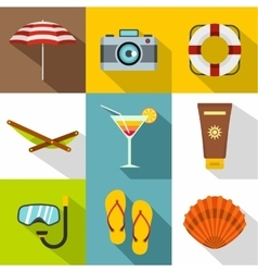Relax on beach icons set flat style vector