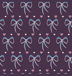 retro lace bows with hearts vector image