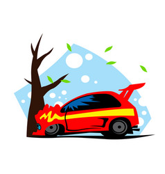 road incident red car crashed on a tree vector image